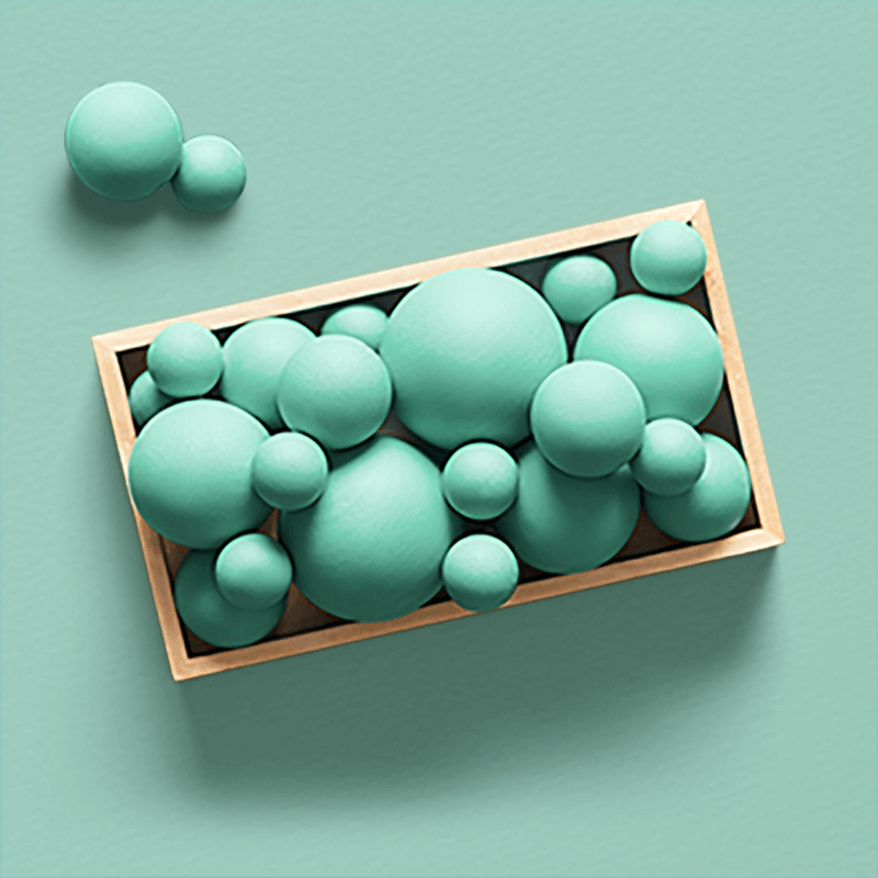 A consolidated box of different sized balls