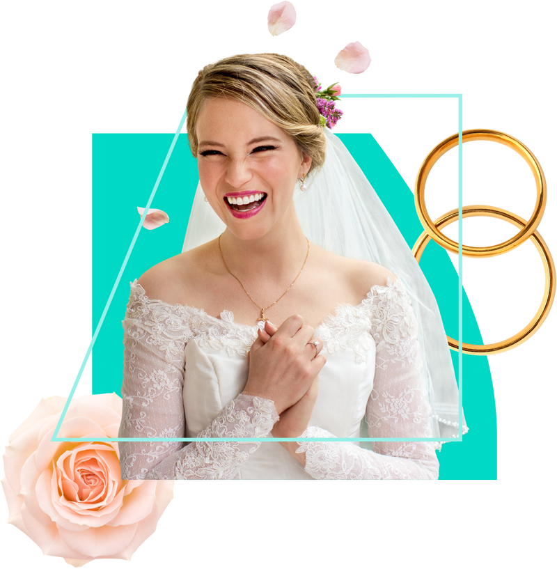 Smiling woman feeling delighted on her wedding day, with roses and rings in the background